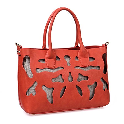 BMC Faux PU Leather Abstract Pattern Cut Out Woven Texture Fashion Tote Handbag
