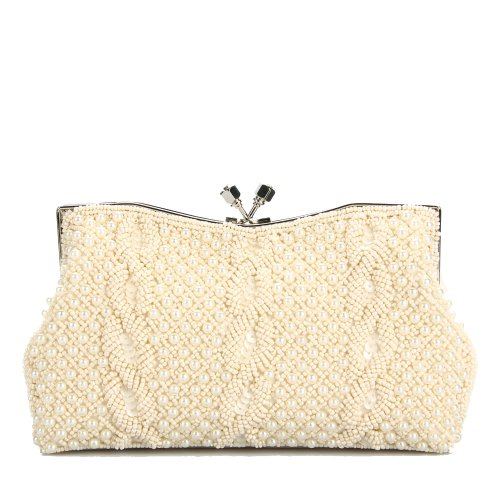Tinksky® Luxury Temperament Diamond Pearl Embroider Bead Bride Wedding Banquet Lady Hand Bags