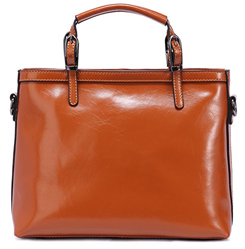 Heshe New Women's Soft Genuine Leather Tote Top Handle Cross Body Handbag Purse Shoulder Messenger Bag Fit Ipad