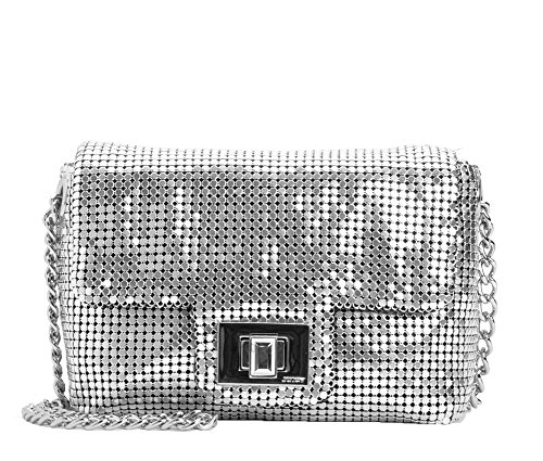 Juicy Couture Beverly Mini G Minaudiere Metal Mesh Evening Bag, Silver