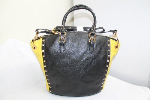 Oryany Handbags Large Studded Convertible Leather Mila MA014 Satchel Tote Bag in Black & Yellow