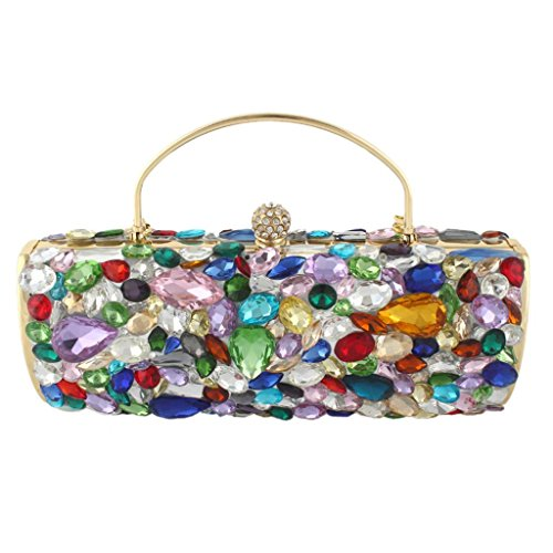 Yahoho Women's Teardrop Cluster Evening Bag Party Handbag Multicolor Austrian Crystal Christmas Gift