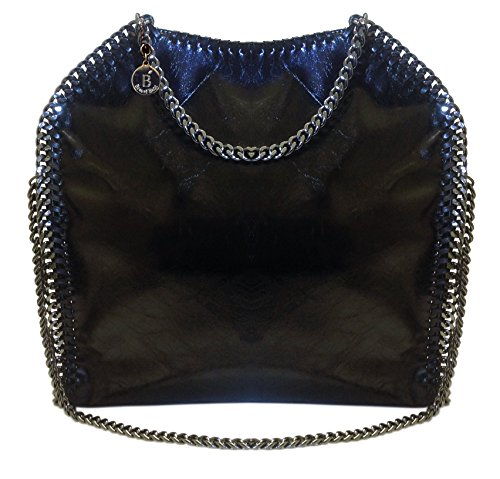 Beaute Bags Chain Border Tote Large Chain Black Handbag Gunmetal Chain Shoulder or foldover to Satchel