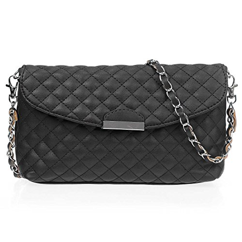 BMC Womens PU Leather Quilted Diamond Pattern Embroidered Fashion Clutch Handbag