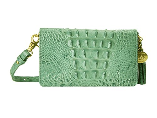 NEW AUTHENTIC BRAHMIN AMELIA SMALL CROSSBODY WALLET BAG (Aloe Glossy Melbourne)