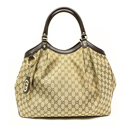 Gucci Large Sukey Handbag Tote in Beige Fabric Brown Leather Trim