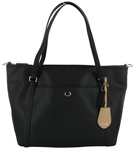 Coach Peyton F25667 Women's Tote Leather Handbag Black