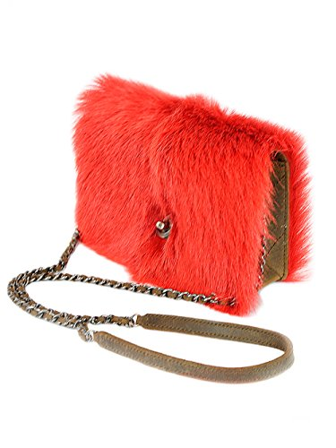 Chanel Women's Mink Fur Clutch Shoulder Bag with Chain in Red