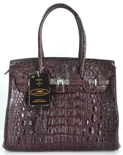 100% GENUINE CROCODILE LEATHER HANDBAG CLUTCH BAG PURSE LARGE LOCKED SHINY DARK BROWN NEW EMS SHIPPING @ Genuineshop