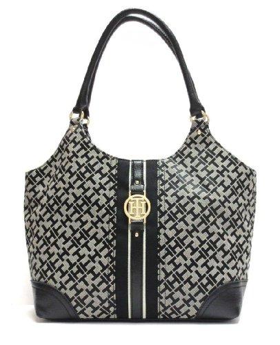 Tommy Hilfiger Large 4 Post Shopper Handbag Tote Black Multi