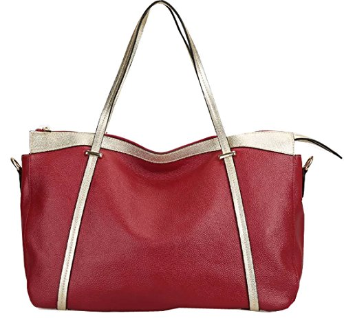 Heshe Genuine Leather New Lady's Color Blocking Top Handle Tote Shoulder Crossbody Bag Satchel Purse Women's Handbag