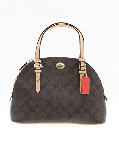 Coach Peyton MINI Signature Domed Cora Satchel – Brown / Tan