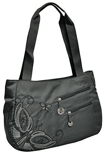 Travelon Embroidered Hobo Bag with Wallet – Grey