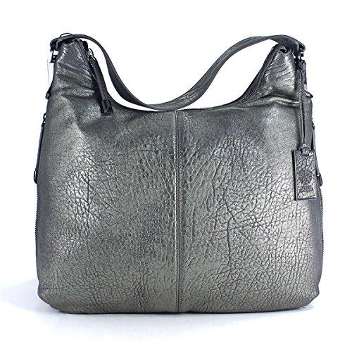 Vince Camuto Riley Hobo Pewter Silver Leather Shoulder Bag Purse