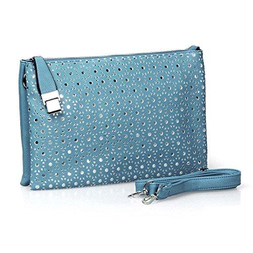 BMC Womens PU Faux Leather Cutout Pattern Wristlet Strap Clutch Fashion Handbag