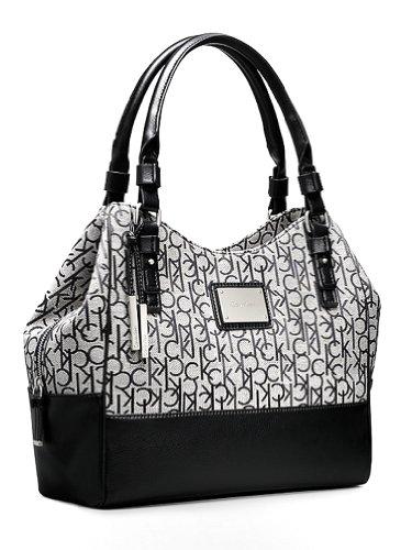 Calvin Klein Logo Jacquard Center Zip Hobo Handbag Satchel Purse Tote (Granite)