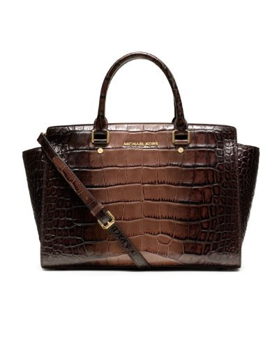 Michael Kors Selma Large Top Zip Satchel Brown Crocodile Leather
