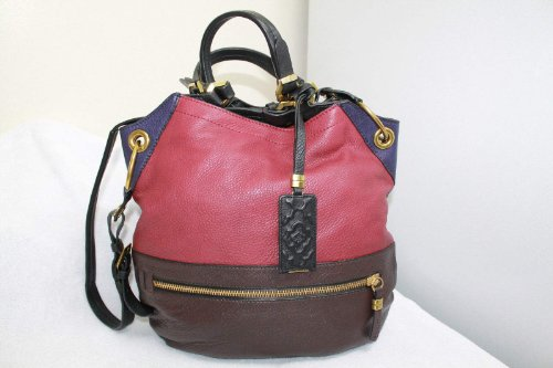 Oryany Sydney Cabernet Multi Colorblock Leather Large Hobo Shoulder Bag