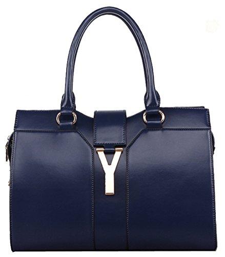 Heshe Women's Genuine Leather European Style Classic Tote Cross Body Shoulder Bag Handbag Purse