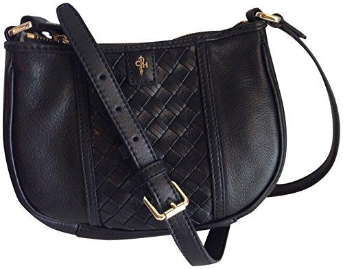 Cole Haan Heritage Weave Stripe Simona Genuine Leather Black Crossbody