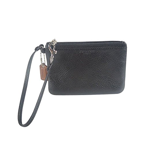 Coach Park Leather Small Wristlet Black F51763 Sv/bk