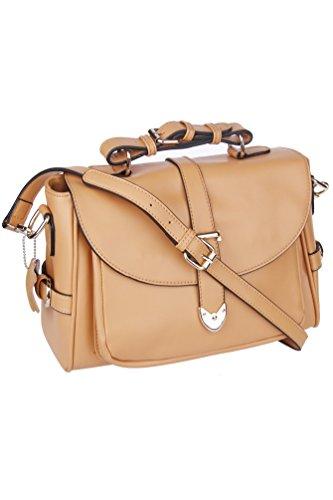 Solid Tan Hardware Buckle Up Genuine Leather Satchel Handbag