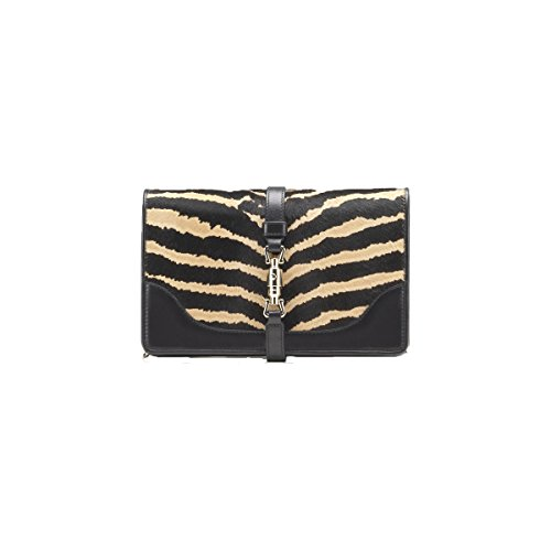 Gucci Zebra Print Broadway Calf Hair Chain Evening Bag Handbag Clutch