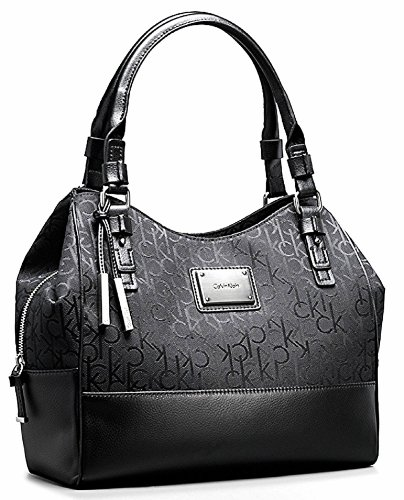 Calvin Klein Logo Jacquard Center Zip Hobo Handbag Satchel Purse Tote (Black)