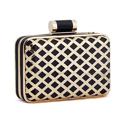 BMC Womens Alloy Metal Shiny Cutout Hardcase Fashion Crossbody Clutch Handbag
