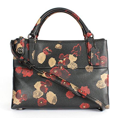 Coach Small Turnlock Borough Bag in Floral Print Leather Black Multi