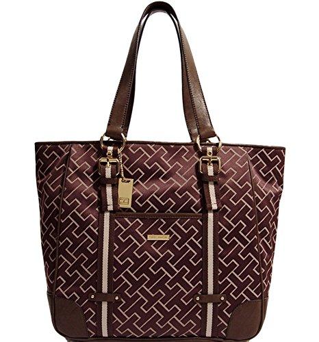 Tommy Hilfiger Logo Large Tote Bag Handbag Purse (Brown)