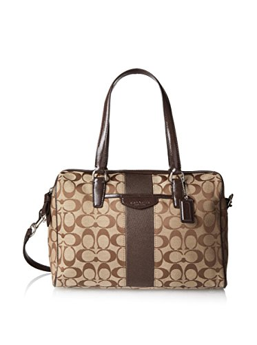 Coach Signature Stripe Nancy Satchel Handbag 28505 Khaki Brown Mahogany
