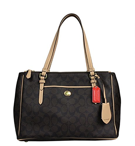 Coach Peyton Brown Signature Double Zip Carryall – Style 26187
