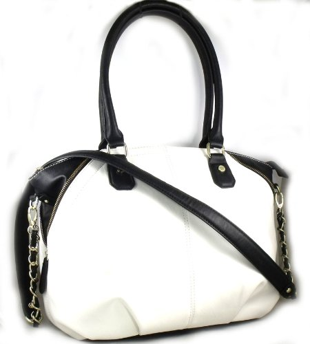 Steve Madden Sunrize Satchel (Black/White)