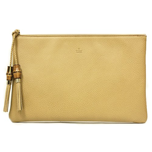 Gucci Large Brown Leather Bamboo Tassel Clutch Bag