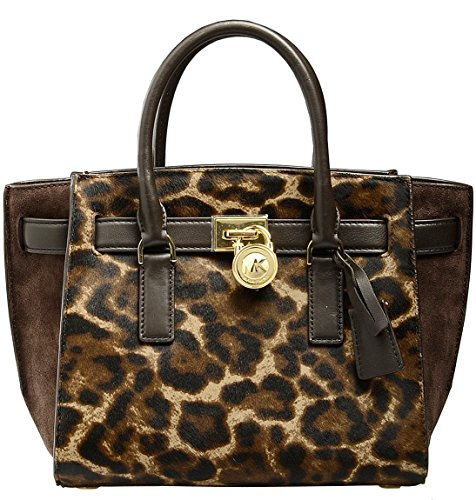 Michael Kors Large Hamilton Traveler Satchel Bag in Leopard Calf Hair