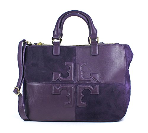 Tory Burch Viola Wild Plum Natalie Small Purple Double Zip Tote Purse Bag