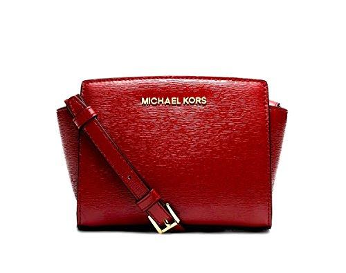 Michael Kors Mini Selma Crossbody Bark Patent Saffiano Leather Red