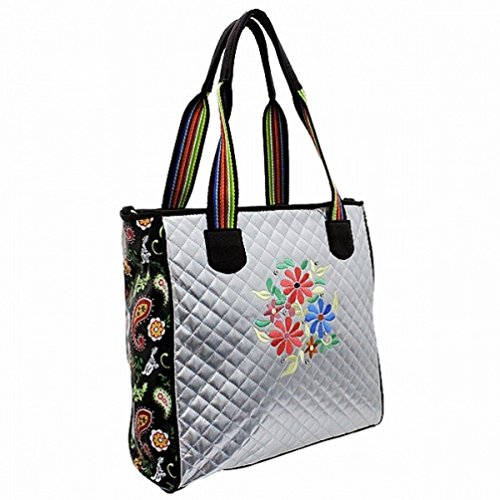 Silver Quilted Floral Embroidered Designer Inspired Handbag Tote Purse D2