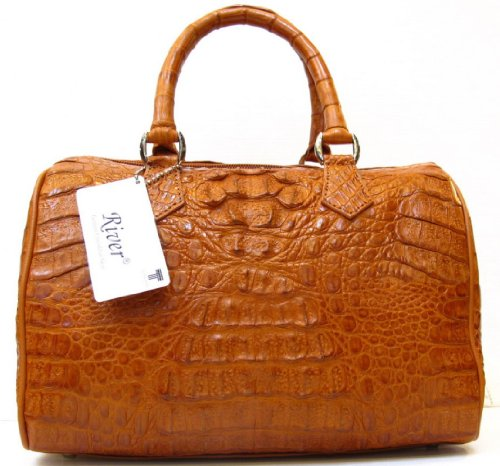 100% Genuine Crocodile Leather Handbag Clutch Bag Purse Golden Tan River Brand New