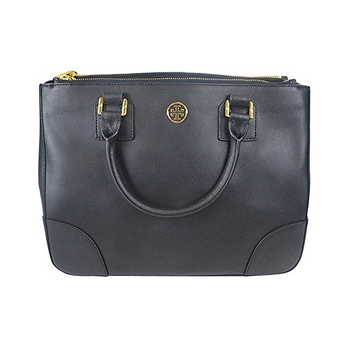 Tory Burch Robinson Double Womens Black Purse Leather Tote