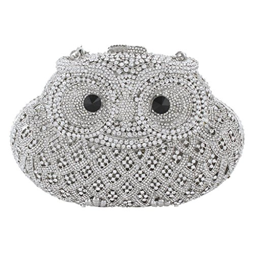 Yahoho Women's Owl Evening Bag Party Handbag Halloween Clear Austrian Crystal Silver-Tone