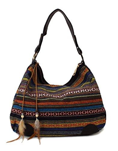 Scarleton Striped Jacquard Hobo Bag H1581