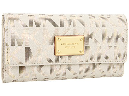 Michael Kors Women's Jet Set Checkbook Wallet PVC Clutch Baguette