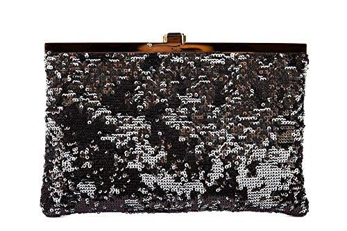 DOLCE&GABBANA women's clutch handbag bag purse paillettes black
