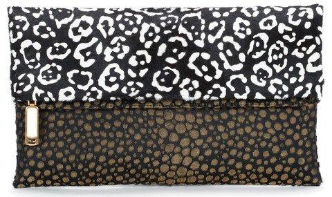 Fendi Chameleon Color-Block Print Calf Hair Reversible Fold-Over Clutch Bag