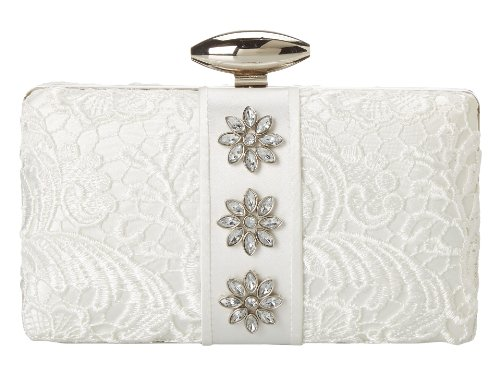 Mary Frances Aria Clarity White on White Lace Over Satin Jeweled Convertible Bag