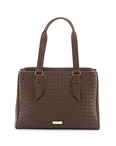 Cole Haan Junia Woven Leather Triple Entry Shopper Handbag, Chestnut, One Size