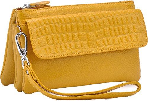 Heshe 100% Soft Genuine Leather Clutch Organizer Purse Shoulder Crossbody Wrislet Bag Satchel Handbag for Women