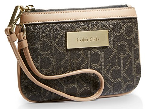 Calvin Klein Jordan Lena Wristlet Clutch Purse Handbag (Dark Brown)